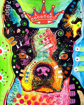 Portrait Dog Painting - Boston Terrier Crowned by Dean Russo