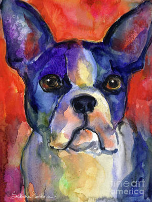Watercolor Pet Portraits Wall Art - Painting - Boston Terrier Dog Painting  by Svetlana Novikova