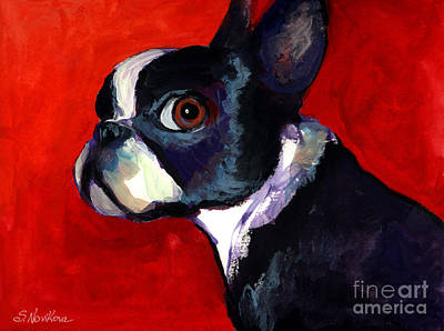 Watercolor Pet Portraits Painting - Boston Terrier Dog Portrait 2 by Svetlana Novikova