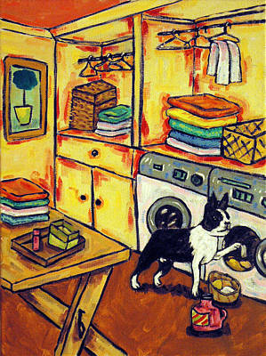 Laundry Painting - Boston Terrier Doing The Laundry by Jay  Schmetz