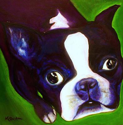 White Terrier Mixed Media - Boston Terrier - Elwood by Laura  Grisham