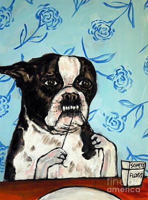 Boston Terrier Flossing Art Print by Jay  Schmetz