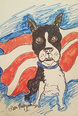 July Fourth Drawing - Boston Terrier by Geraldine Myszenski
