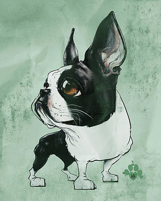 Cities Drawings - Boston Terrier - Green  by John LaFree