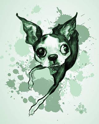 Boston Terrier - Green Paint Splatter Art Print