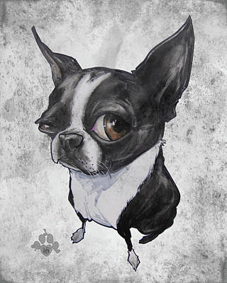 Cities Drawings - Boston Terrier - Grey Antique by John LaFree