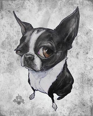Boston Terrier - Grey Antique Art Print