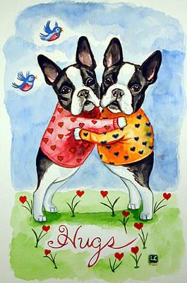 Boston Terrier Painting - Boston Terrier Hugs by Lyn Cook