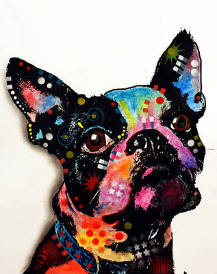 Portrait Dog Painting - Boston Terrier II by Dean Russo