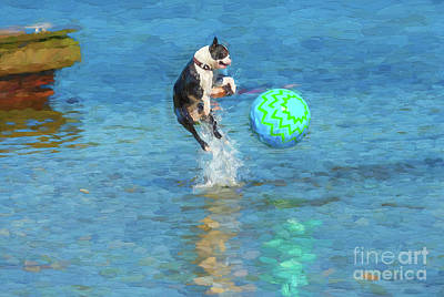 Digital Art - Boston Terrier Jump - Painterly by Les Palenik