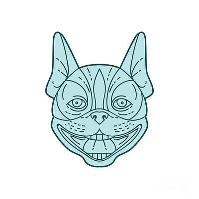 White Terrier Digital Art - Boston Terrier Laughing Circle Mono Line by Aloysius Patrimonio