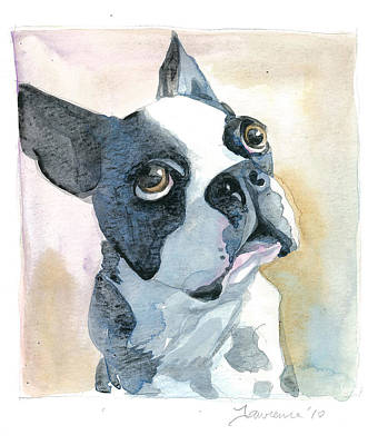 Boston Terrier Art Print by Mike Lawrence