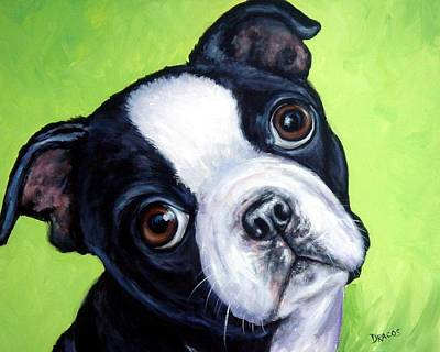 Boston Painting - Boston Terrier Pup On Green by Dottie Dracos