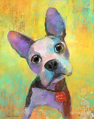 Svetlana Novikova Art Painting - Boston Terrier Puppy Dog Painting Print by Svetlana Novikova