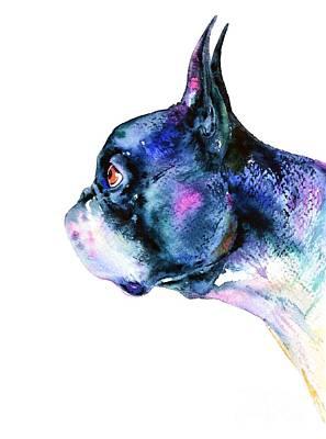 Painting - Boston Terrier  by Zaira Dzhaubaeva