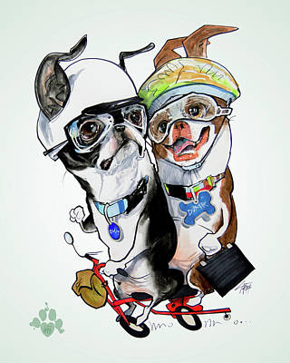 Boston Drawing - Boston Terriers - Dumb And Dumber by John LaFree
