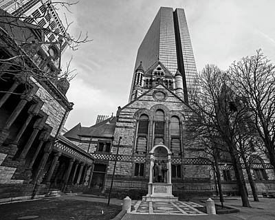 Photograph - Boston Trinity Church And Hancock Building Boston Ma Black And White by Toby McGuire