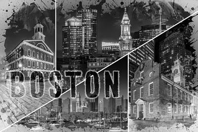 Custom House Tower Photograph - Boston Urban Collage No 1 by Melanie Viola