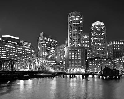 Digital Art - Boston Waterfront Black And White by Toby McGuire
