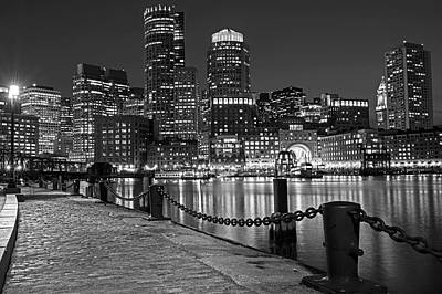 Boston Waterfront Boston Skyline Black And White Art Print