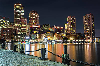 Photograph - Boston Waterfront Boston Skyline Boston Ma Harbor Towers by Toby McGuire