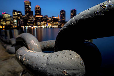 Boston Waterfront Chain Closeup Detail Boston Ma Art Print