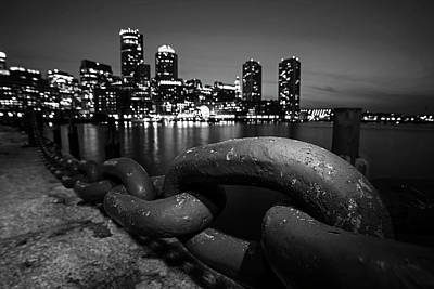 Boston Waterfront Chain Detail Boston Ma Black And White Art Print