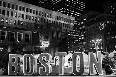 Photograph - Boston Winter In City Hall Plaza Boston, Ma Black And White by Toby McGuire