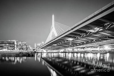 Leonard Photograph - Boston Zakim Bridge At Night Black And White Photo by Paul Velgos