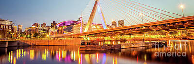 Charles River Photograph - Boston Zakim Bridge At Night Panorama Photo by Paul Velgos