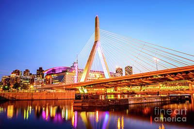 Boston Zakim Bridge At Night Photo Art Print