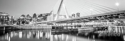 Charles River Photograph - Boston Zakim Bridge Black And White Panorama Photo by Paul Velgos