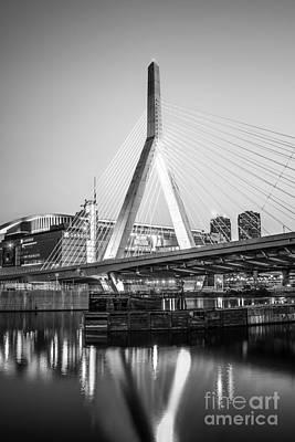 Landmarks Royalty-Free and Rights-Managed Images - Boston Zakim Bridge Black and White Photo by Paul Velgos