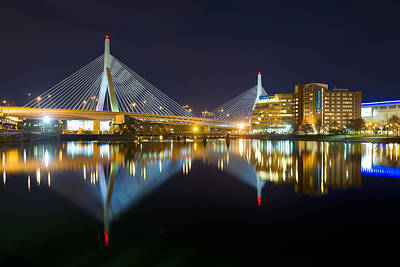 Charles River Photograph - Boston Zakim Bridge Reflections by Shane Psaltis