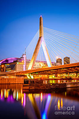 Boston Zakim Bunker Hill Bridge At Night Photo Art Print