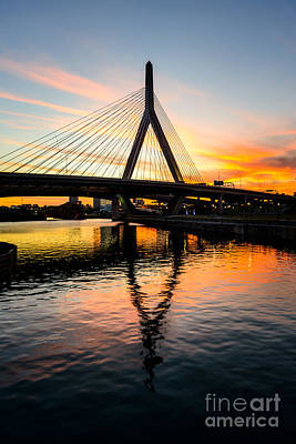 Charles River Photograph - Boston Zakim Bunker Hill Bridge At Sunset by Paul Velgos