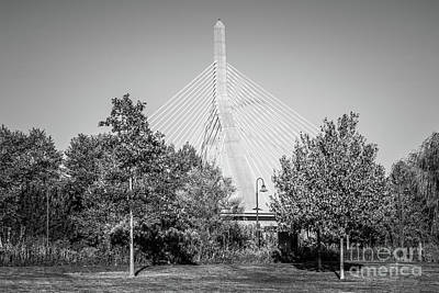 Leonard Photograph - Boston Zakim Bunker Hill Bridge Black And White Photo by Paul Velgos