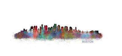 Cityscape Painting - Boston City Skyline Hq V2 by HQ Photo