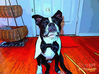 Boston Terrier Painting - Bostons Ball 6 by Michael Moore