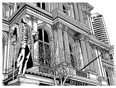 Boston Ma Drawing - Boston's Old City Hall by Conor Plunkett