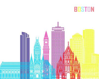 Boston Landmark Painting - Boston_v2 Skyline Pop by Pablo Romero