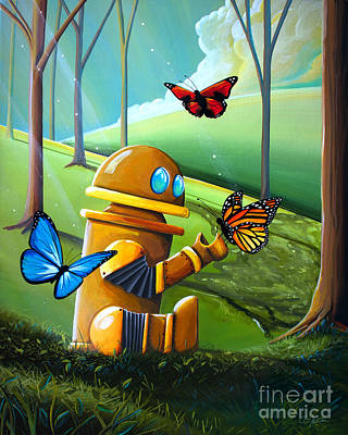 Bot And The Butterflies Print by Cindy Thornton