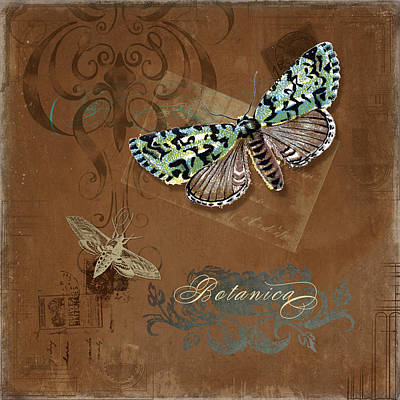 Digital Art - Botanica Vintage Butterflies N Moths Collage 1 by Audrey Jeanne Roberts
