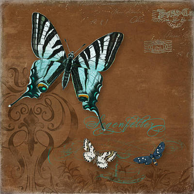 Painting - Botanica Vintage Butterflies N Moths Collage 3 by Audrey Jeanne Roberts