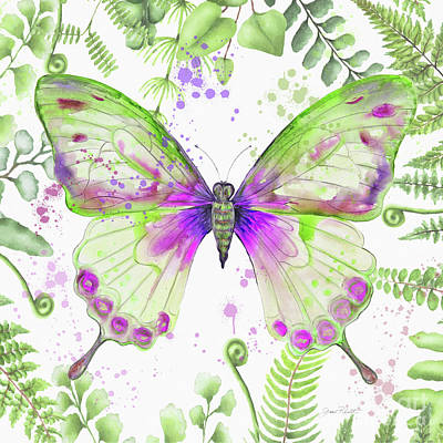 Painting - Botanical Butterfly Beauty 3 by Jean Plout