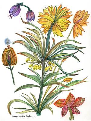Botanical Flower-53  Yellow Flower Art Print by Julie Richman