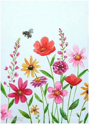 Painting - Botanical Flowers And Bees by Elizabeth Robinette Tyndall