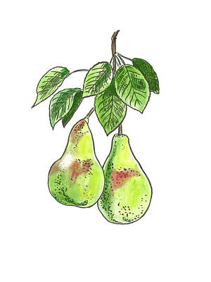 Painting - Botanical. Pear 2 by Masha Batkova