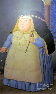 Botero Nunn In Blue Art Print