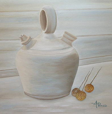 Potters Clay Painting - Botijo by Angeles M Pomata